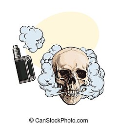 Smoke coming out of fleshless skull and vape, vaping device...
