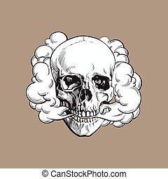 Smoke coming out of fleshless skull, death, mortal habit...