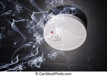 Smoke Detector in the smoke of a fire.