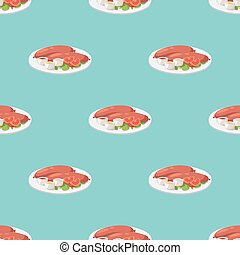 Smoke dried sausages seamless pattern dish meat dinner cuisine delicious lunch barbecue vector illustration