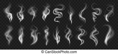 Smoke effect. Realistic traces in air from evaporation and burning. Hot coffee cup steam and cigarette or hookah vapor. Isolated collection of white fog and mist on transparent background, vector set