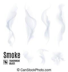 Smoke - Set of transparent smoke on white background