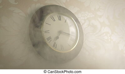 Smoke Filling Room With Clock On Wall