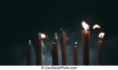 Smoke four candles, and they cease to burn - Burning candles...
