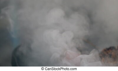 Smoke from a burning fire
