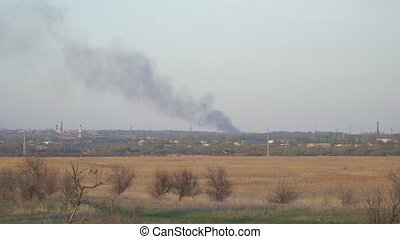 Smoke from a fire in distance - Smoke from a fire in the...