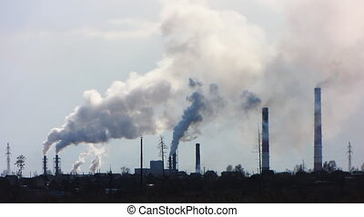 Smoke from a pipe 2. - Smoke billows from factory,...
