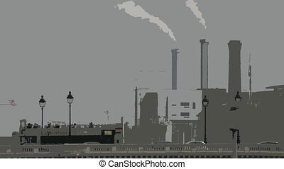 smoke from an industrial chimney, paris, france