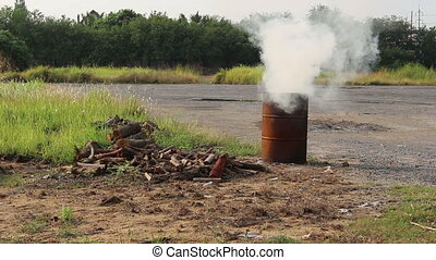 smoke from tank burn firewood