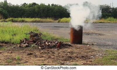 smoke from tank burn firewood