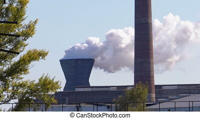 Smoke from the Chimneys of Industrial Metallurgical Plant...