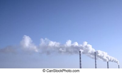 Smoke from the chimneys plant rises into the clouds 002 -...