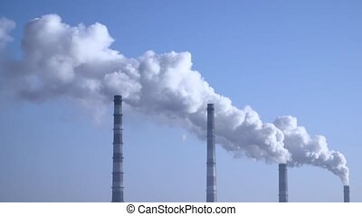 Smoke from the chimneys plant rises into the clouds 003 -...