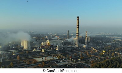 Smoke from the pipes in the city. environmental pollution