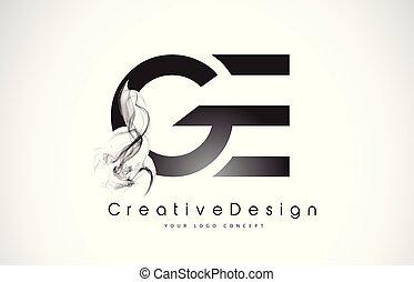 smoke., ge, noir, lettre, logo, conception