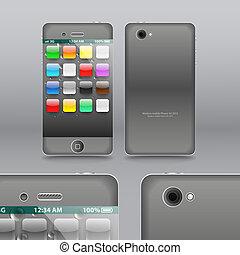 Smoke grey modern touchphone gadget vector illustration