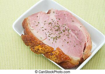 smoke ham steak on the white bowl