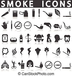 Smoke icons on a white background with a shadow