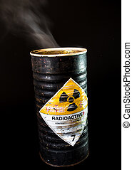 Smoke in the old cylinder container of radioactive material