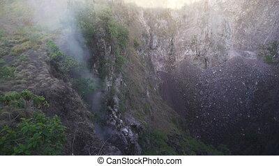 Smoke in Volcano crater Batur Bali Indonesia - Mountains,...