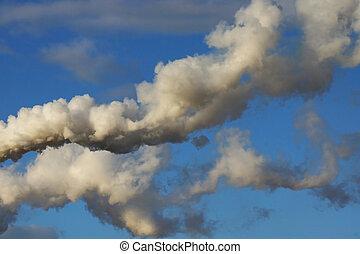 smoke on a blue sky