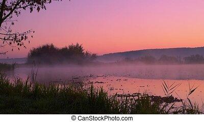 Smoke on the water at dawn