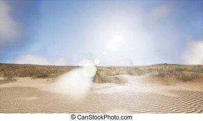 smoke over sand dunes