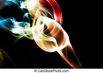smoke - colored smoke isolated  on a black background