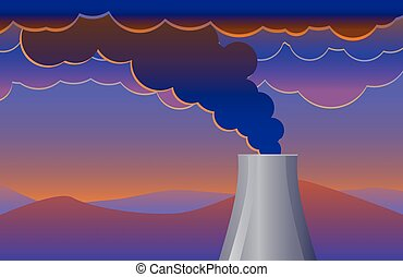 Smoke pollution coming out of a chimney