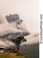 Smoke Rises From Tungurahua Volcano, March 2016 - Banos De...