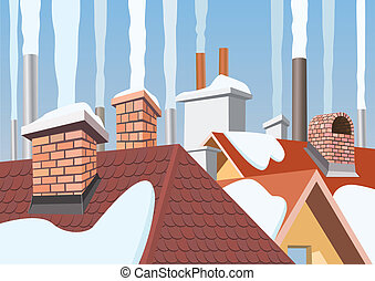 Smoke rising from the chimneys