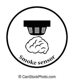 Smoke sensor icon. Thin circle design. Vector illustration.