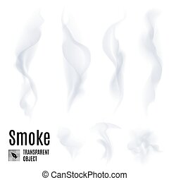Smoke - Set of transparent smoke on white background