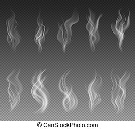 Smoke set on transparent background