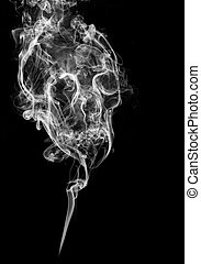 smoke skull - skull made of smoke on black background