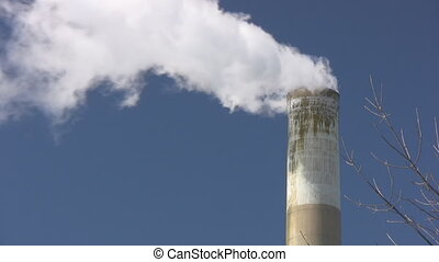 Steam Cloud Coming From A Large Chimney
