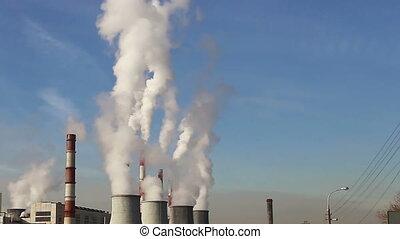 coal burning power plant - Smoke stacks at coal burning...