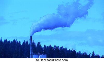 Smoke Stacks - Blue smoke stacks from a factory, Camas,...