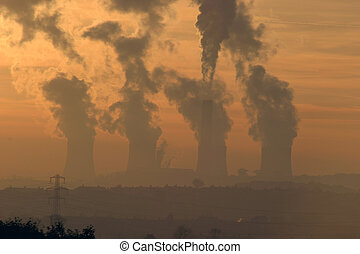 Smoke Stacks - Wintry Sunset, Over Ratcliffe-On-Soar, coal...