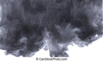 Smoke, steam, fog, cloud. Smoke fills the screen, wonderful transition. Slow motion, isolated. Organic flow