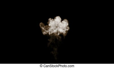 Smoke stream in slow motion. Isolated on black background...