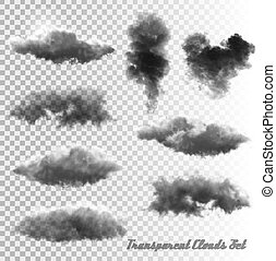 smoke., transparente, nuvens, jogo, vector.
