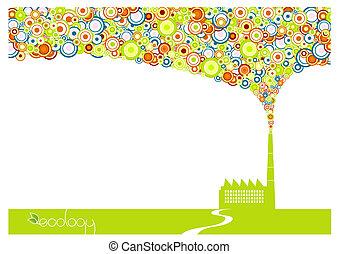 smoke., vert, usine