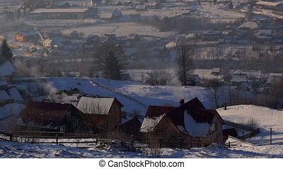 Smoke village winter house