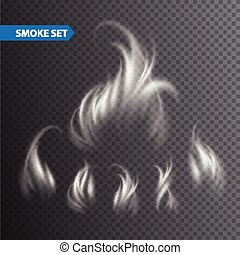 Smoke waves on transparent background. Vector illustration