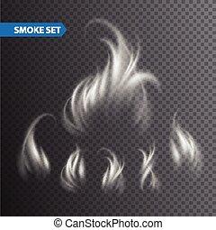 Smoke waves on transparent background. Vector illustration