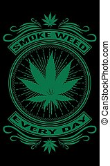 T-shirt, poster design depicting cannabis use with a black background