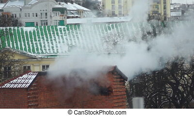 Smoke winter roof house