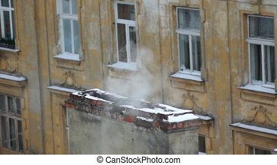 Smoke winter roof house