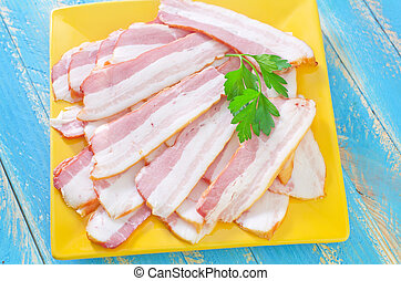 smoked bacon on plate